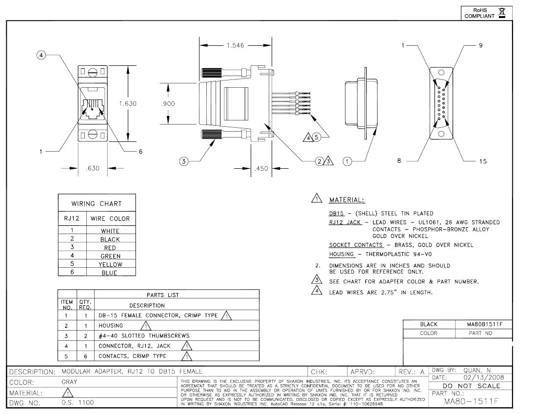 Db15 Female To Rj12 Modular Adapter Kit 6 Conductor Jack Wiring Diagram Click Here Download The Spec Sheet
