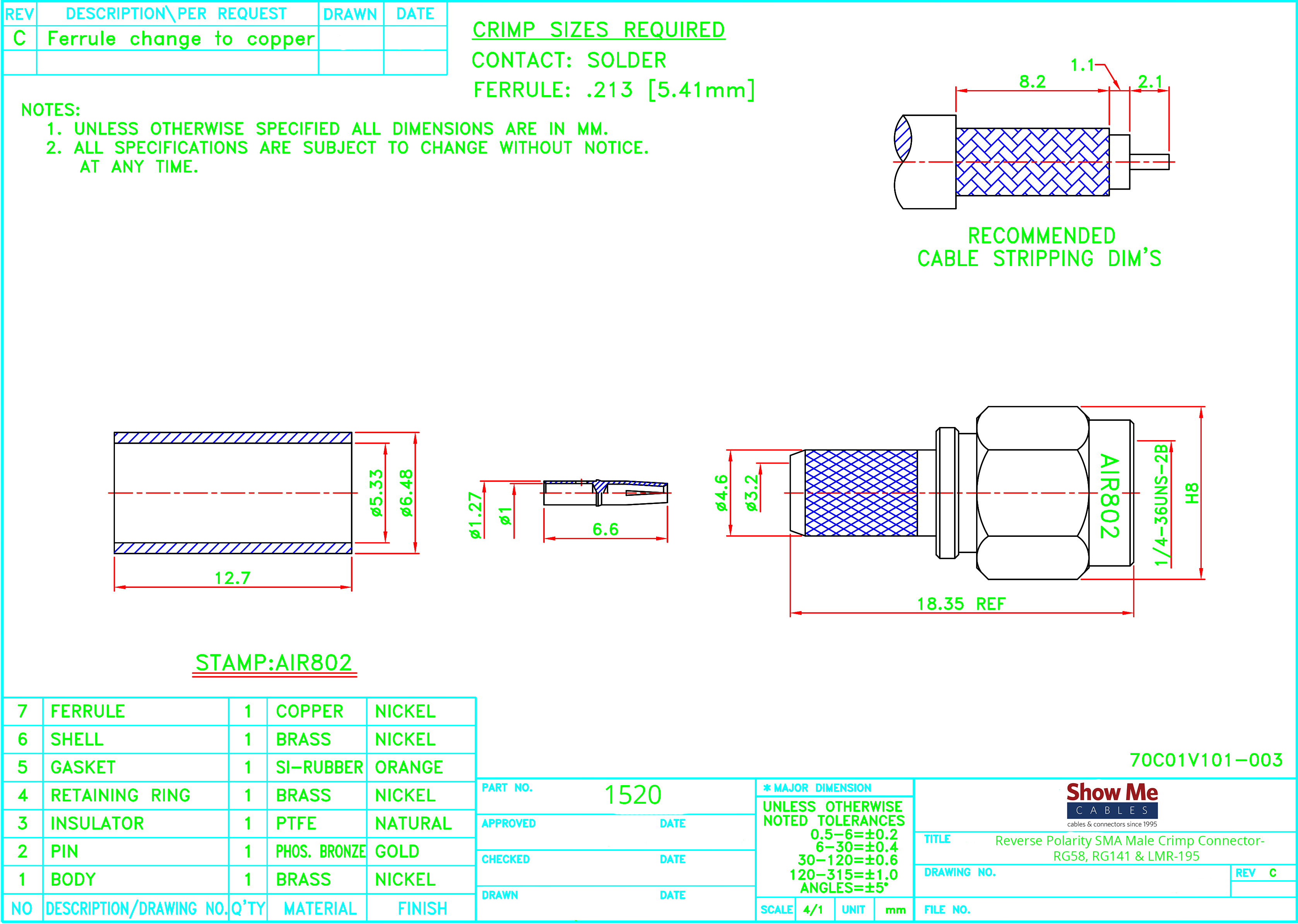 Reverse Polarity Sma Male Crimp Connector Rg58 Rg141 Lmr 195 Rj45 Wiring Variations Click Here To Download The Spec Sheet