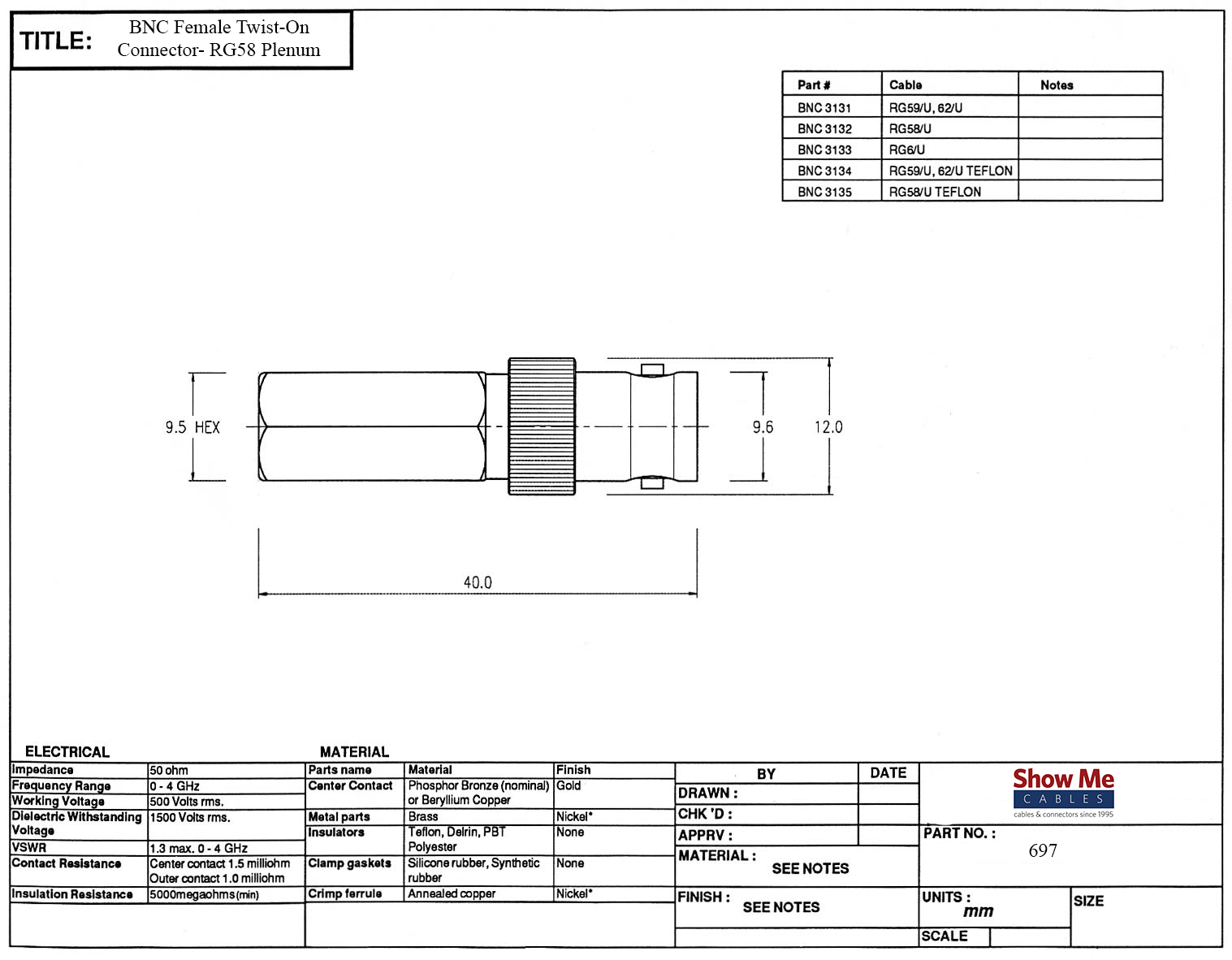 Bnc Female Twist On Connector Rg58 Plenum Coaxial Cable Schematics Click Here To Download The Spec Sheet