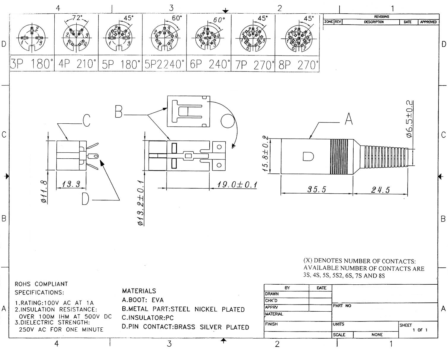 4 Pin Din Female Solder Connector Plastic Rj22 Wiring Diagram Click Here To Download The Spec Sheet