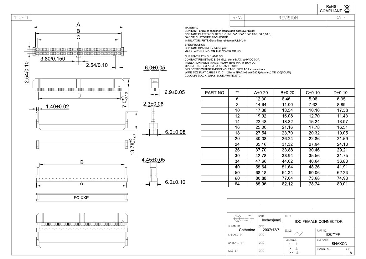 26 Pin Dual Row Idc Socket Female Db37 Cable Wiring Diagram Click Here To Download The Spec Sheet